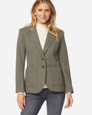 ADDITIONAL VIEW OF WOMEN'S BRYNN PATCH POCKET WOOL BLAZER IN OLIVE/BEIGE HERRINGBONE