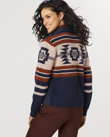 ATHENA SWEATER JAC, NAVY/NATURAL MULTI, large