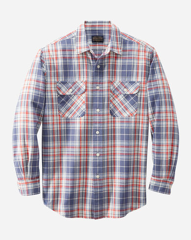 MEN'S BEACH SHACK COTTON TWILL SHIRT IN BLUE/RED/IVORY PLAID