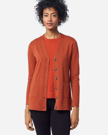 WOMEN'S COLBY V-NECK CARDIGAN, PICANTE, large