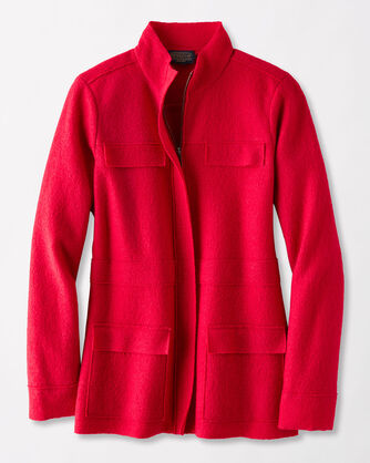 BOILED WOOL MILITARY JACKET, TANGO RED, large