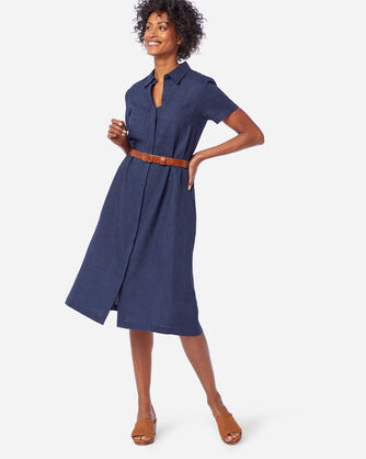 WASHED LINEN A-LINE SHIRT DRESS IN NAVY MIX