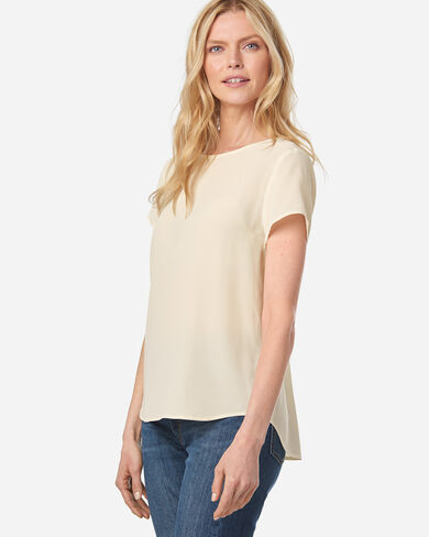 WOMEN'S SUEDED SILK SHORT-SLEEVE TOP IN IVORY