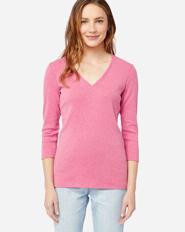 WOMEN'S THREE-QUARTER SLEEVE V-NECK TEE IN RASPBERRY HEATHER