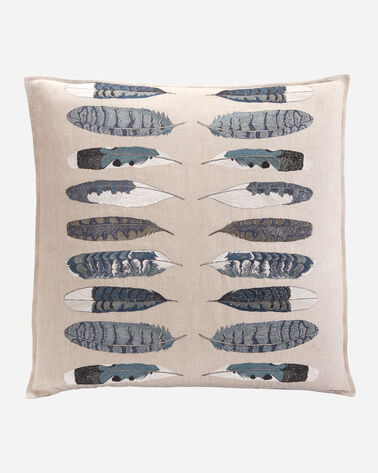 FEATHER HARMONY BLUE PILLOW IN NATURAL LINEN