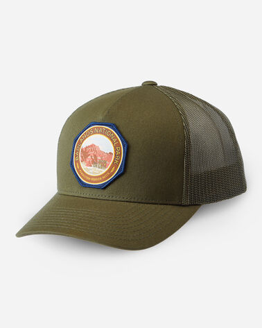 NATIONAL PARK TRUCKER HAT IN ARMY GREEN BADLANDS