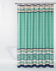 EMBROIDERED CHIMAYO SHOWER CURTAIN, AQUA, large