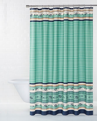 Large EMBROIDERED CHIMAYO SHOWER CURTAIN AQUA