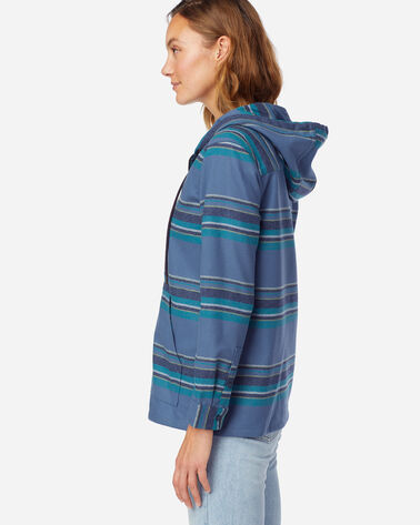 ALTERNATE VIEW OF WOMEN'S BOYFRIEND WOOL ZIP HOODIE IN BLUE MULTI STRIPE
