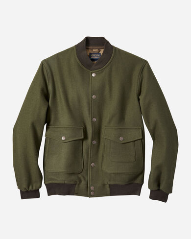 MEN'S JACQUARD SNAP-FRONT WOOL JACKET IN SHELTER BAY BROWN