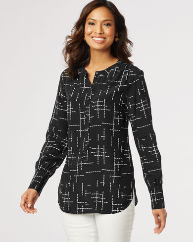 DAY AND NIGHT TUNIC, BLACK PRINT, large