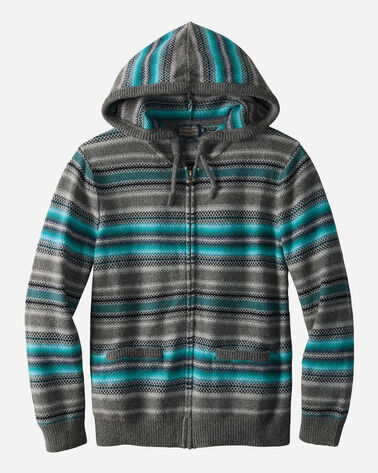 MEN'S SERAPE STRIPE HOODED SWEATER, TEAL/CHARCOAL, large