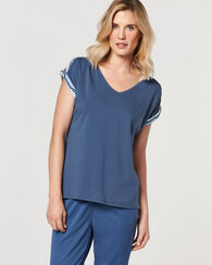 EXTENDED SHOULDER SLEEVE TOP, BLUE CHAMBRAY, large