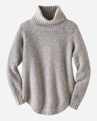 WOMEN'S DONEGAL COWL NECK SWEATER, SOFT GREY TWEED, large