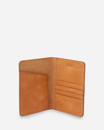 ALTERNATE VIEW OF LEATHER EMBOSSED PASSPORT HOLDER IN TAN