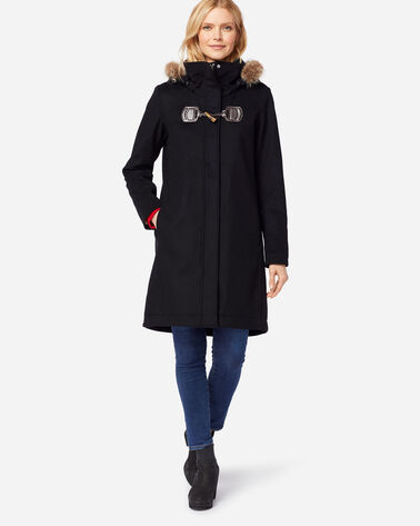 WOMEN'S ST. MARIE HOODED WOOL COAT, BLACK, large