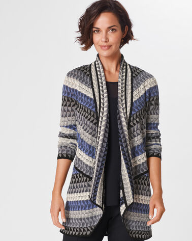 TRIANGLE BLISS CARDI, BLUE/GREY MULTI, large
