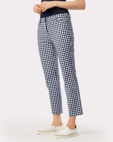 GINGHAM ANGIE ANKLE PANTS, NAVY/WHITE, large