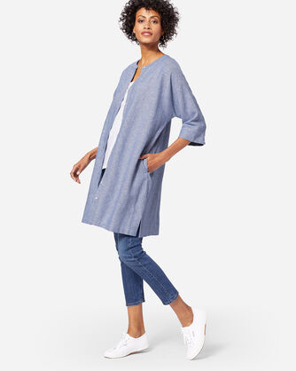 ADDITIONAL VIEW OF STRIPE LINEN DRESS IN BLUE/WHITE