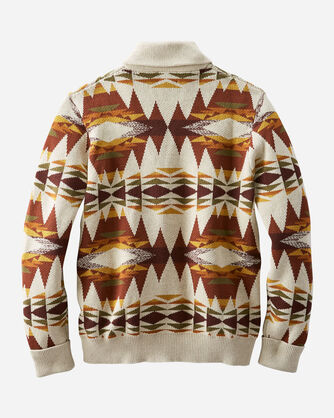 BACK VIEW OF MEN'S EASY RIDER COTTON SHAWL CARDIGAN IN RUST/TAN