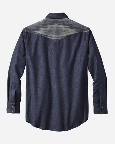 FITTED PIECED JACQUARD CANYON SHIRT, NAVY MIX, large