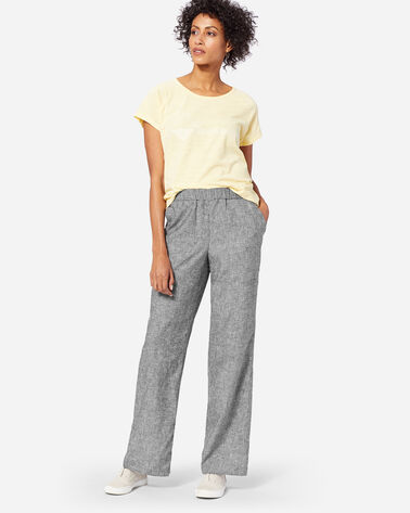 WOMEN'S PULL ON BEACH PANTS, BLACK CHAMBRAY, large
