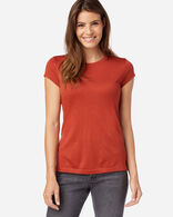 MACHINE WASHABLE SHORT SLEEVE MERINO TEE IN RED OCHRE