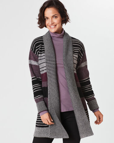 COZY STRIPE CARDIGAN, CHARCOAL MULTI, large