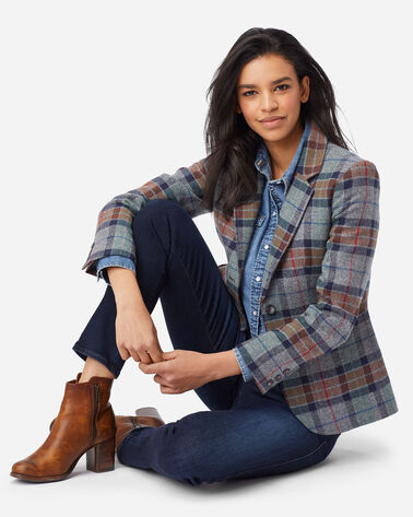 WOMEN'S BRYNN OREGON TWEED WOOL BLAZER IN GREY MIX PLAID