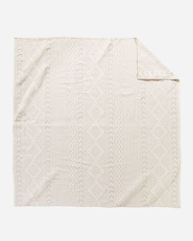 ALTERNATE VIEW OF GANADO COTTON MATELASSE COVERLET IN BEIGE