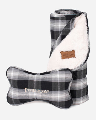 CLASSIC PLAID THROW AND TOY IN CHARCOAL OMBRE PLAID