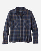 WOMEN'S ULTRALUXE MERINO PIPER SHIRT IN NAVY/COPPER WINDOWPANE
