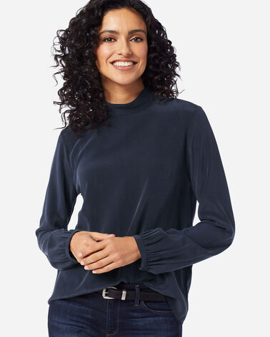 WOMEN'S SUEDED SILK MOCKNECK TOP, MIDNIGHT NAVY, large