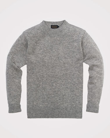 SHETLAND WASHABLE WOOL CREWNECK, GREY HEATHER, large