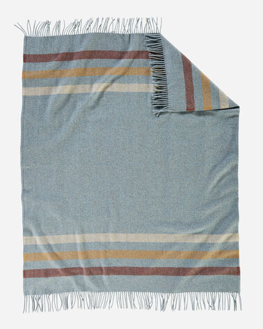 ECO-WISE WOOL FRINGED THROW IN SHALE STRIPE
