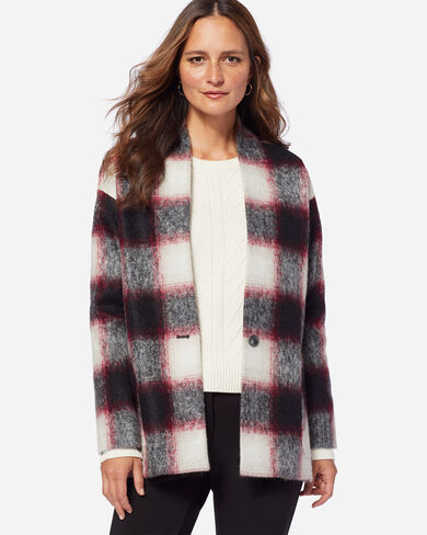 COLLARLESS PLAID COAT, RED/BLACK OMBRE, large
