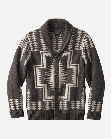 HARDING SHAWL-COLLAR CARDIGAN, BROWN/COFFEE, large