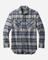 BURNSIDE DOUBLE-BRUSHED FLANNEL SHIRT IN GREY/NAVY PLAID
