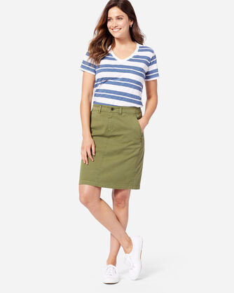 CHINO TWILL SKIRT IN OLIVE