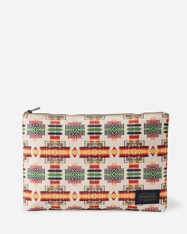 CHIEF JOSEPH CANOPY CANVAS BIG ZIP POUCH, IVORY, large