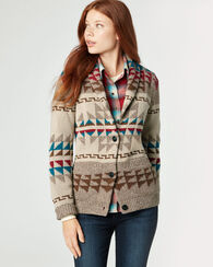 ICONIC SHAWL COLLAR CARDIGAN, BROWN MULTI, large