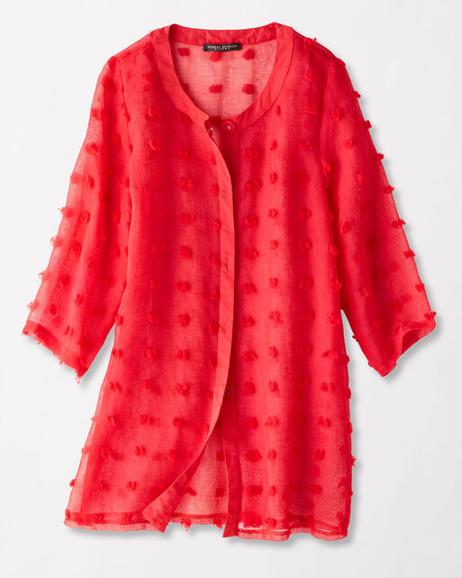 JULIA SNAP-FRONT TUNIC, CHERRY RED, large