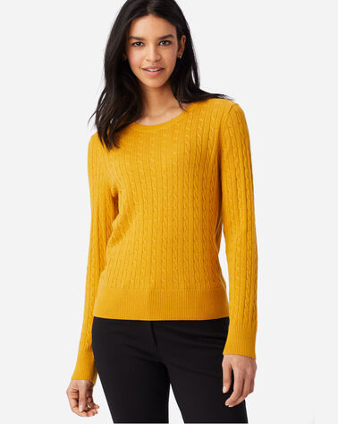 ALTERNATE VIEW OF WOMEN'S MERINO CABLE PULLOVER IN GOLD HEATHER