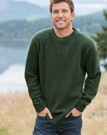 MEN'S SHETLAND WASHABLE WOOL CREWNECK, JUNIPER GREEN, large