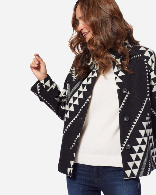 MESA JACQUARD COAT, BLACK/IVORY, large