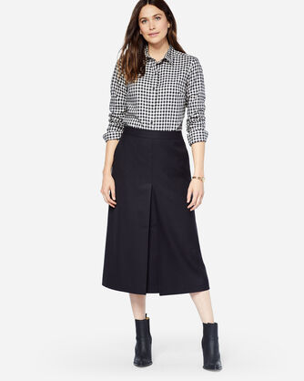 SHELBY WORSTED WOOL FLANNEL BOOT SKIRT, BLACK, large