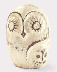 HANDCARVED OWLET, DISTRESSED WHITE, large