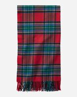 PLAID 5TH AVENUE MERINO THROW IN RED STEWART