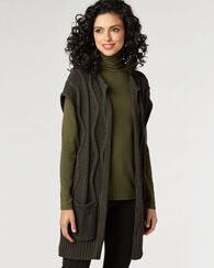 CABLE VEST CARDIGAN, OLIVE, large