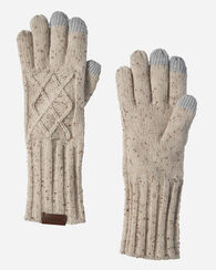 CABLE GLOVES, IVORY MIX, large